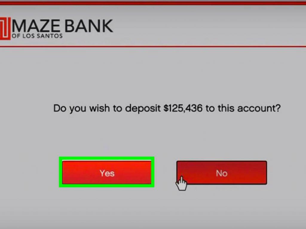 depositing money in maze bank account