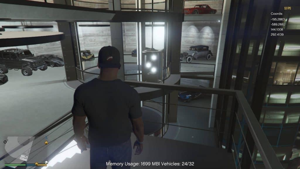 GTA V garage with cars