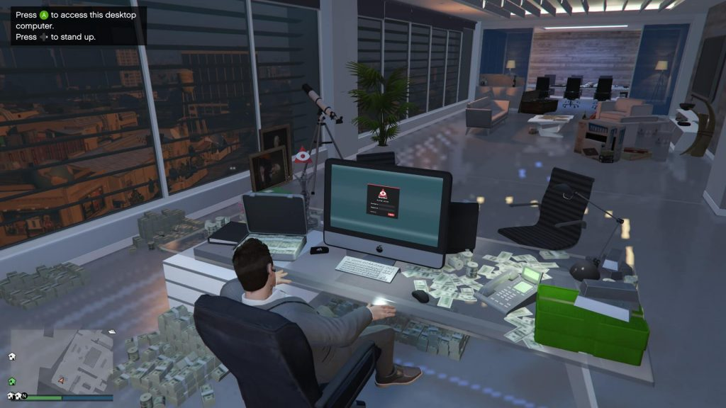 CEO sitting at desk with money