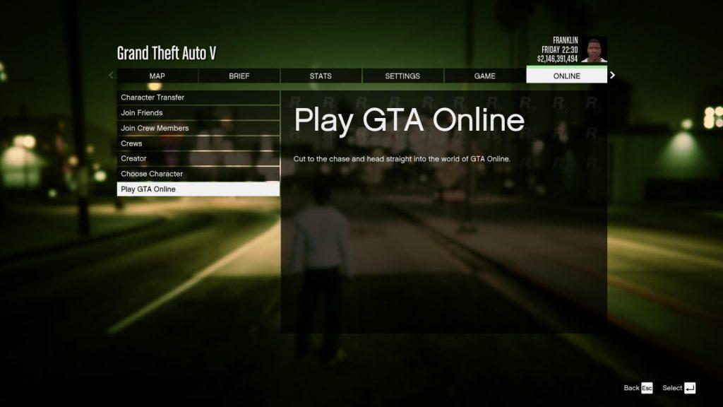 Joining GTA:O via dashboard in-game