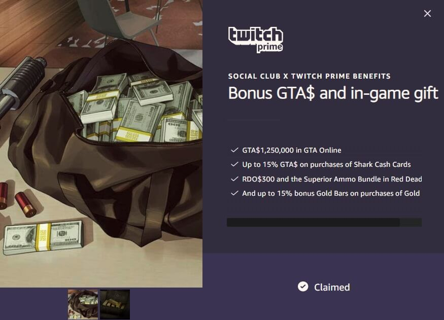 claimed twitch reward