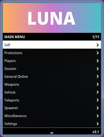 Luna mod menu internal trainer
