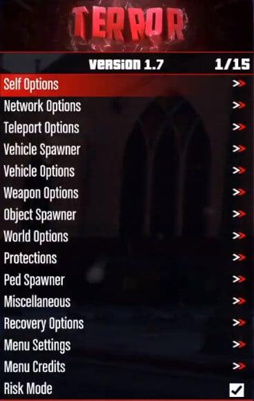 Terror mod menu showcase